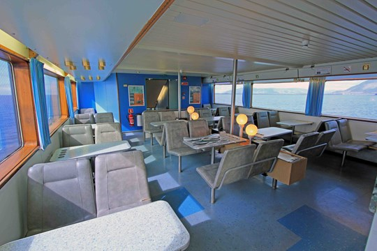 Indoor area from the whale watching boat ANDREA